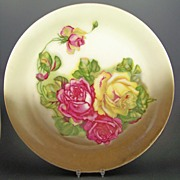 "Antique Z.S. & Co. (Zeh Scherzer, Bavaria) 12 1/2"" Charger/Platter, Large, Luscious Red and Yellow Roses, late 1800s"