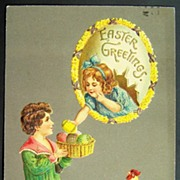 1912 Embossed A.M.B. Postcard, Boy Offers Easter Eggs to Girl in Floral Egg, Rooster Watches with Concern