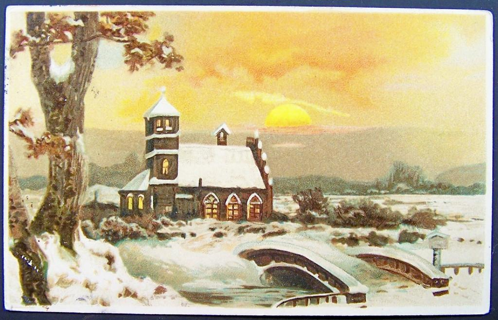 Picturesque 1907 Postcard, Snow-covered Country Church under Golden Sunset, Bridge over River