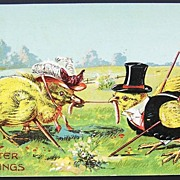 Early 1900s Fantasy Embossed Easter Postcard, Dressed Duckling and Chick Fight over the Worm