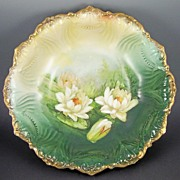 "Ornately Molded C. & E. Carstens (Weimar, Germany) 11"" Display Bowl, Lilies on Tranquil Pond, 1918-1945"