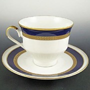 Classic Bareuther Cobalt & Gold Cup and Saucer, Greek Key Border, 1966-69