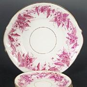 Antique Plum Transferware Staffordshire Cake Plate & Dessert Plates, English Registry Mark, 1880