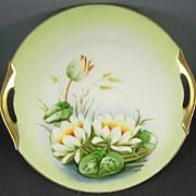 Antique Z&S (Zeh Scherzer Bavaria) Hand Painted Cake Plate, Lilies on the Pond, Studio Artist Dupont, ca. 1900