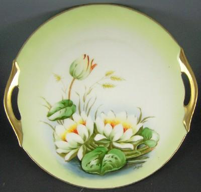 Antique Z&S (Zeh Scherzer Bavaria) Hand Painted Cake Plate, Lilies on the Pond, Studio Artist Dupont, ca. 1900