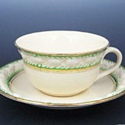 Late-1800s, Antique Adams Titian Ware Perugia Cup & Saucer, Molded Fruit, Green & Gold Bands