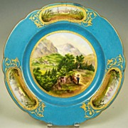 Exceptional Antique Hand Painted French Plate, Father & Son on Mountain Stroll, Miniature Vignettes of Country Chateaus, ca. 1850