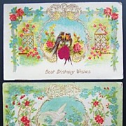 Pair of 1908 Delicately Embossed Gilded Postcards, Doves among Roses and Forget-me-nots, Trellises, Scrolling