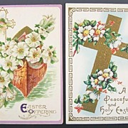 Pair of Gilded Embossed Easter Postcards, Boat of Galilee, Trumpet Lilies, Roses of Sharon, 1912