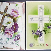 Pair of B. B. London Embossed Silver-Accented Easter Postcards, Ornate Silver Cross, Rugged Wooden Cross, Violets, Pink & Purple Poppies, 1908