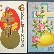 Pair of Gilded & Silver-toned Easter Postcards, Chicks, Cross & Pansies Born from Golden Egg, Ornate Cross with Egg and Pink Roses