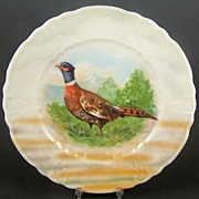 German Lusterware Game Bird Display Plate, Ring-Necked Pheasant (Handpainted) in Meadow (Transfer), Early 1900s
