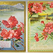 Pair of Gilded Embossed Postcards, Scenic Vignettes - Seaside Italian Village in Mountains, Fisherman in Sailboat, Red Roses & Carnations, 1909