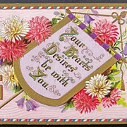 1909 Gilded Embossed Postcard, Illuminated Banner, Pink & White Chrysanthemums, Bluebells, Good Luck Sun Symbol