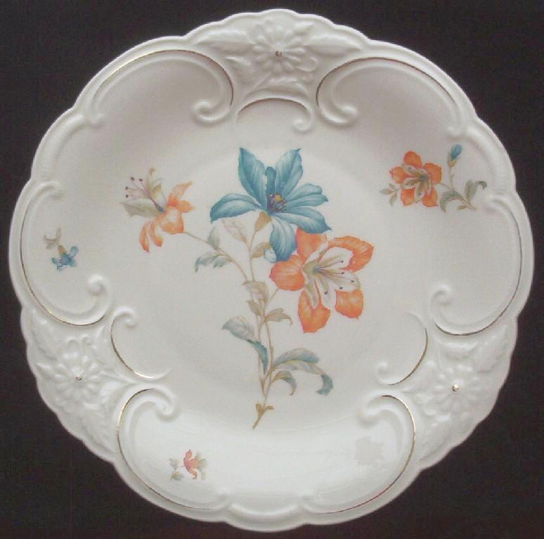 """Beautiful Vintage Bareuther & Co. Ornately Molded Gilded 11"""" Platter, Tangerine and Turquoise Orchids, 1931-1950"""