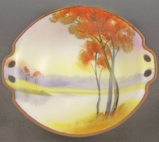 """Vibrant Nippon Hand Painted 7 1/4"""" Bowl, Autumn Trees on Lake, Fiery Colors, Beading, Mark #47, 1911-1020s"""