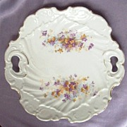 Beautiful Vintage Scarf Cake Plate, Ornate Molding, Wildflower Sprays