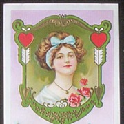 Early 1900s Embossed Gilded Stecher Postcard, Edwardian Lady in Ornate Frame, Hearts and Arrows