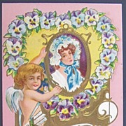 1909 Embossed Gilded Knox Postcard, Cupid Hangs Portrait of Colonial Lady in Floral Bonnet, Heart of Pansies, Lots of Gilding, Arrows