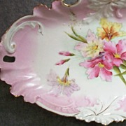 Splendid RS Prussia Pierced-Handle Celery Dish with Clematis Blooms