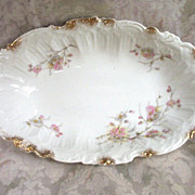"Ornately Molded Bavarian 12"" Bowl, Delicate Floral Sprays and Brushed Gold"