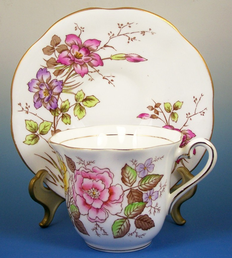 Taylor & Kent Bone China Cup & Saucer, Vibrant Summer Florals, Transfer with Hand Painted Color, 1939-50s