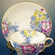 Taylor & Kent Bone China Cup & Saucer, Bright Spring Florals, Transfer with Hand Painted Color, 1939-50s