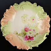 Antique Unmarked R.S. Prussia Blown Out Master Bowl Mold OM 40, Peach & Mint with Magenta Pink and Mint Florals, HP White & Magenta Accents, ca.1900