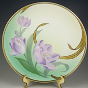 "Lovely Hand Painted German 9"" Plate, Lavender Tulips & Gilded Leaves, 1910-1938"