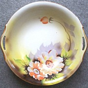 "Beautiful Hand Painted Early Noritake 10"" Pierced Handle Bowl, Watercolor Poppies, Lavender Leaves, early 1920s"