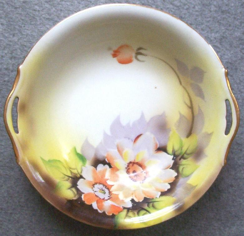 """Beautiful Hand Painted Early Noritake 10"""" Pierced Handle Bowl, Watercolor Poppies, Lavender Leaves, early 1920s"""