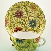 Hand Painted Cup & Saucer, Vibrant Florals, Gilding, Enamel Jewel Accents, ca. 1900