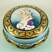 Antique Hand Painted Limoges Bonbon Box (Dresser Box/Jewelry Casket), French Lady with Art Nouveau Florals, Gilded, Artist Signed, 1906