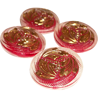 Vintage Reverse Painted Glass Buttons with Gold Gilt