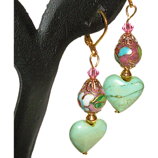 Artisan Turquoise Hearts and Cloisonne Earrings