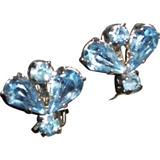 Vintage Something Old, Something Blue Crystals Clip Earrings