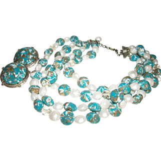 SALE Vintage 3-Strand Ceramic, Glass, and Lucite Necklace Set