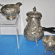 Antique 3-Piece Dutch Repousse' .833 Silver Black Coffee Service, CA.1880