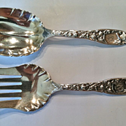 "Whiting ""Heraldic"" Pattern Sterling Silver Salad Set, CA.1900"