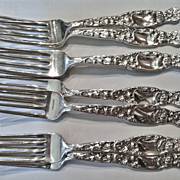 """Set of 8 Whiting """"Heraldic"""" Pattern Forks, CA.1900"""