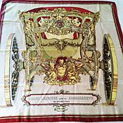 """Rare Original Hermes Silk Scarf, """"Grand Carrosse Pour Un Ambassadour Anno MDCC"""", Vintage 1961"""
