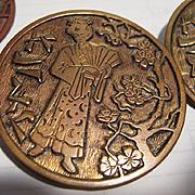 SALE Set of 4 Antique Buttons, Oriental Design, CA.1890