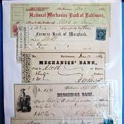 Collection of 5 Antique Bank Checks, Baltimore Banks