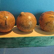 3 Antique Japanese Scrimshaw on Gourds, 19th Century