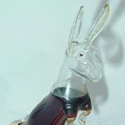 Hand Blown Bols Glass Rabbit Figural Liquor Bottle