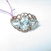 10K Gold Vintage Aquamarine Ring