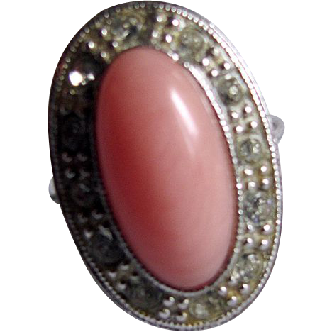 Mid Century 1974 Avon Pale Fire Coral & Rhinestone Silvertone Ring- 2 for 1 Offer