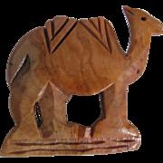 Vintage Hand Carved Olive Wood Camel Brooch 2 for 1 offer