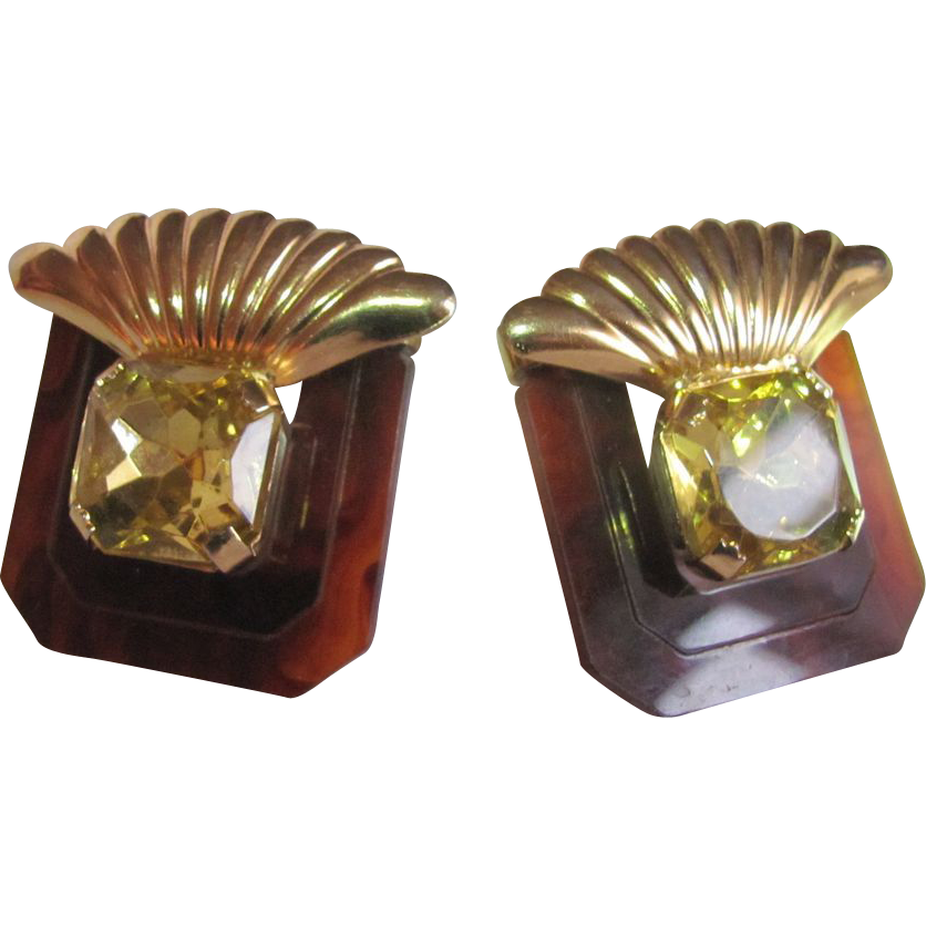 80's Art Deco Style Retro Faux Glass Topaz & Tortoiseshell Lucite Clip Earrings