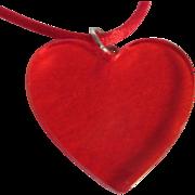Art Deco Bakelite Red Prystal Heart Pendant On Silk Cord